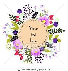 clip art vector bright floral card cute cartoon flowers in