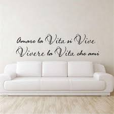 Amazon Com Decals Stickers Wall Words Sayings Removable Lettering Wall Decal Quote Italian Famous Sayings Amare La Vita Si Vive Vivere La Vita Che Ami Wall Decor For Living Room Bedroom Home