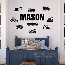 Construction Trucks Wall Decal 9 Personalized Name Kids Room Vinyl Sticker Ebay