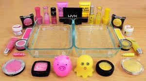 mixing makeup eyeshadow into slime