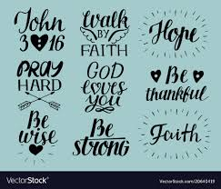set of hand lettering christian quotes god loves