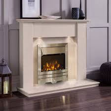 electric fireplace with white mantle