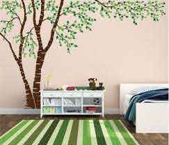 Birch Tree Forest Canopy Blowing Leaves Vinyl Wall Decal 1376 Innovativestencils