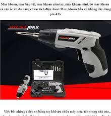 Máy khoan, Máy bắn vít 2 chiều mini khoan vặn dùng pin nhỏ gọn, Bộ máy  khoan và vặn ốc vít đa năng có sạc tích điện Joust Max
