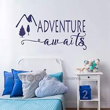 Battoo Adventure Awaits Wall Decal Stickers Adventure Quotes Travel Theme Wall Decor Wanderlust Wall Decal Mountain Wall Decal Bedroom Decor Dark Blue 40 Wx20 5 H Wantitall