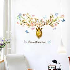 Removable Farest Deer Flower Wall Stickers Elk Butterfly Sticker Living Room Decoration Bedroom Wallpaper Decal Home Decor Mural Wall Stickers Aliexpress