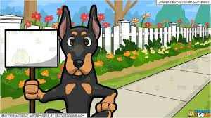 A Doberman Dog Holding A Cardboard Sign And White Picket Fence Background In 2020 White Picket Fence Doberman Dogs Picket Fence