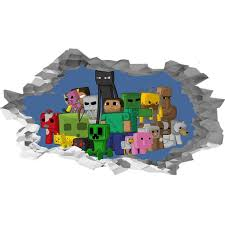Minecraft Characters 3d Hole In The Wall Effect Self Adhesive Etsy