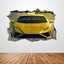 Amazon Com Lamborghini Wall Decal Smashed 3d Graphic Yellow Car Wall Sticker Art Mural Poster Kids Room Decor Gift Up149 70 W X 46 H Inches Arts Crafts Sewing