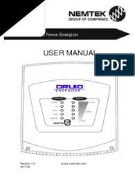 Druid Energizer User Manual Battery Electricity Mains Electricity