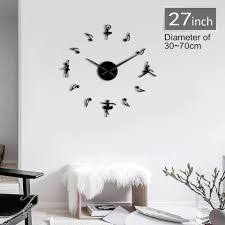 1piece Ballerinas Diy Big Wall Clock Modern Watch Giant Ballet Dance 3d Mirror Large Number Wall Clock Sticker Decor Dancer Gift Wall Clocks Aliexpress
