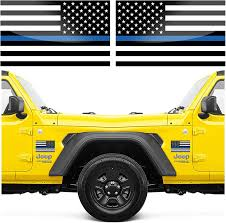 Amazon Com Thin Blue Line American Flag Stickers 6 X 3 5 Inches For Your Truck Or Car Pair Arts Crafts Sewing