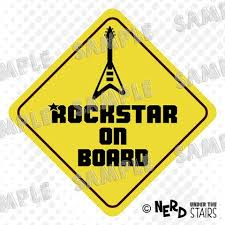 Rockstar On Board Car Decal Fun Baby On Board Sticker Electric Guita Nerd Under The Stairs