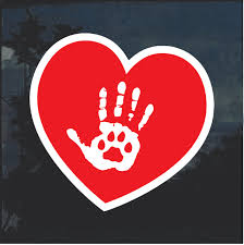 Cat Heart Paw Hand Window Decal Sticker Custom Sticker Shop