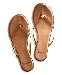 sandals rose gold leather flip flop