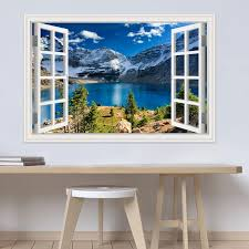 Modern 3d Large Decal Landscape Wall Sticker Snow Mountain Lake Nature Window Frame View Vinyl Home Decor Living Room Bedroom Wall Stickers Aliexpress