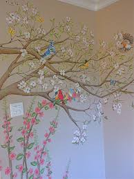 Dogwood Tree Mural With Birds Wall Paint Designs Tree Mural Dogwood Trees