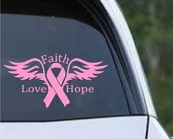 Breast Cancer Angel Faith Love Hope Ribbon Die Cut Vinyl Decal Sticker Texas Die Cuts