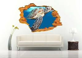 Sea Turtle Close Up 3d Wall Decal Removable Vinyl Sticker Mural Art Decor Ebay In 2020 3d Wall Decals Mural Art Wall Decals