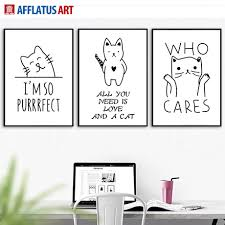 funny cool cat quotes wall art canvas painting nordic posters and