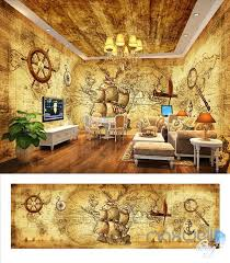 Pirates Of The Caribbean Retro Entire Room Wallpaper Wall Mural Decal Idecoroom