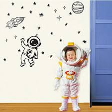 Amazon Com Space Wall Decal Outer Space Wall Decals Rocket Ship Decal Astronaut Decal Kids Bedroom A15 Home Kitchen