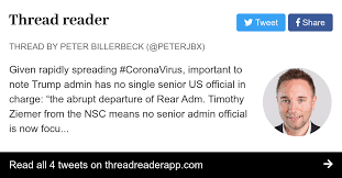 "Thread by @PeterJBX: Given rapidly spreading #CoronaVirus, important to  note Trump admin has no single senior US official in charge: ""the abrupt  departure of Rea…"