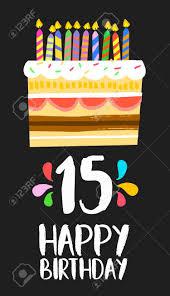 Numero 15 Del Feliz Cumpleanos Tarjeta De Felicitacion Para