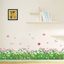 Diy Nature Colorful Flowers Grass Dragonfly Wall Stickers For Living Room Bedroom Wall Decals Floral Tv Decoration Home Decor Dragonfly Wall Stickers Wall Stickerstickers For Aliexpress