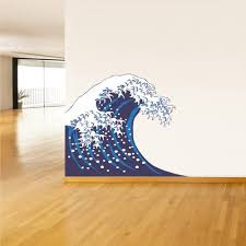 Amazon Com Stickersforlife Full Color Wall Decal Mural Sticker Art Asian Japan Japanese Wave Ocean Sea Col502 Home Kitchen