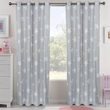 Light Gray Star Nursery Kids Boys Bedroom Small Curtains Cute