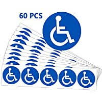 4 Pack 6x6 Inch Ada Compliant Disabled Wheelchair Sign Premium Front Adhesive Vinyl For Applying Inside The Window Or Glass Door Handicap Signs Stickers Decal Symbol Disability Sticker Signs