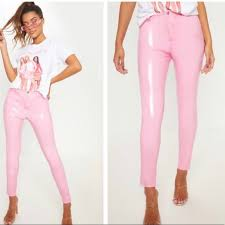 brand new pink patent leather pants