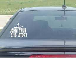 John 3 16 True Story Heart Cross Christian Window Decal