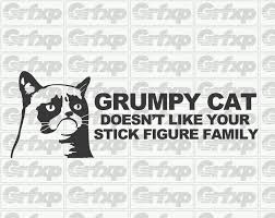 8 Grumpy Cat Doesn T Like Your Stick Figure Family Vinyl Decal Funny Sticker