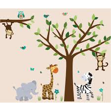 Jungle Tree Wall Decals And Jungle Wall Murals For Nursery Kids