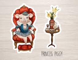 Princess Piggy 2 Vinyl Stickers Laptop Iphone Cute Animal