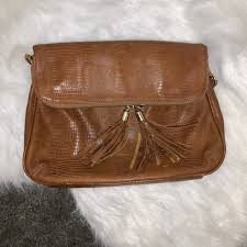 brown leather fringe purse clutch
