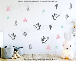 Woodland Wall Decals Nursery Decals Forest Decal Tree Wall Etsy