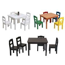 5 Piece Kids Table Chair Set Pine Wood Children Play Room Multi Color Furniture For Sale Online Ebay