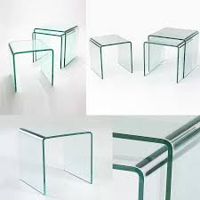 nest of 3 glass side tables 12mm in