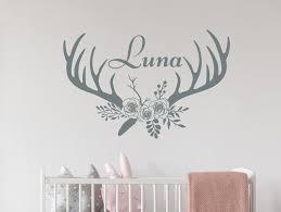 Deer Antlers Name Wall Decal Vinyl Stickers Girls Room Etsy