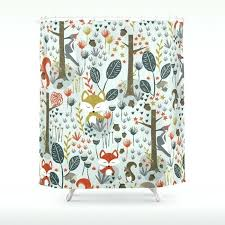 Woodland Animal Curtains Rustic Animals Shower Curtain Blackout By Toqueglamour
