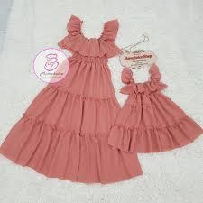 Váy đôi cho mẹ và bé gái FREESHIP Giảm 20K Khi Nhập [ VAYCHOBE ] Đầm đôi mẹ  lụa hồng bèo Hàng Thiết Kế Chất Đẹp giảm chỉ còn 249,000 đ