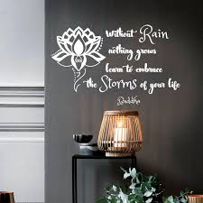 buddha quotes wall decal out rain nothing grows embrace storms