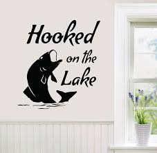 Amazon Com 24 X22 Hooked On The Lake Fish Fishing Boating Fisherman Wall Decal Sticker Art Mural Home Decor Home Kitchen