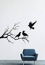Amazon Com Halloween Wall Decals Decor Vinyl Stickers Silhouette Branch Forest Tree Nature Crow Bird Silhouette Branch Animal Lm2151 W35 H21 Home Kitchen