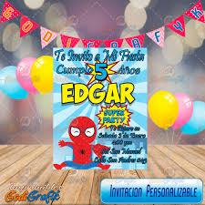 Invitacion De Cumpleanos Infantil Marvel Hombre Arana 80 00 En