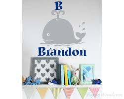 Whale Wall Decal Whale Name Decal Personalized Name Decal With Whale Nursery Wall Decor Vinyl Wall