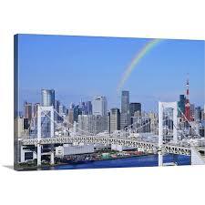 Shop Skyline Of Tokyo And Rainbow Bridge Tokyo Prefecture Honshu Japan Canvas Wall Art Overstock 16447011